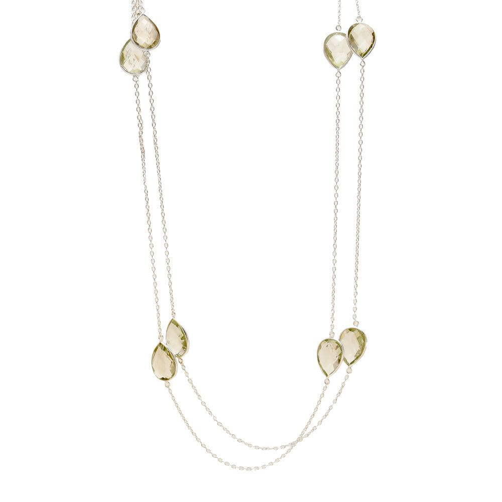 Shakara Jewellery,Droplet-collec-long-station-necklace-green-amethyst.