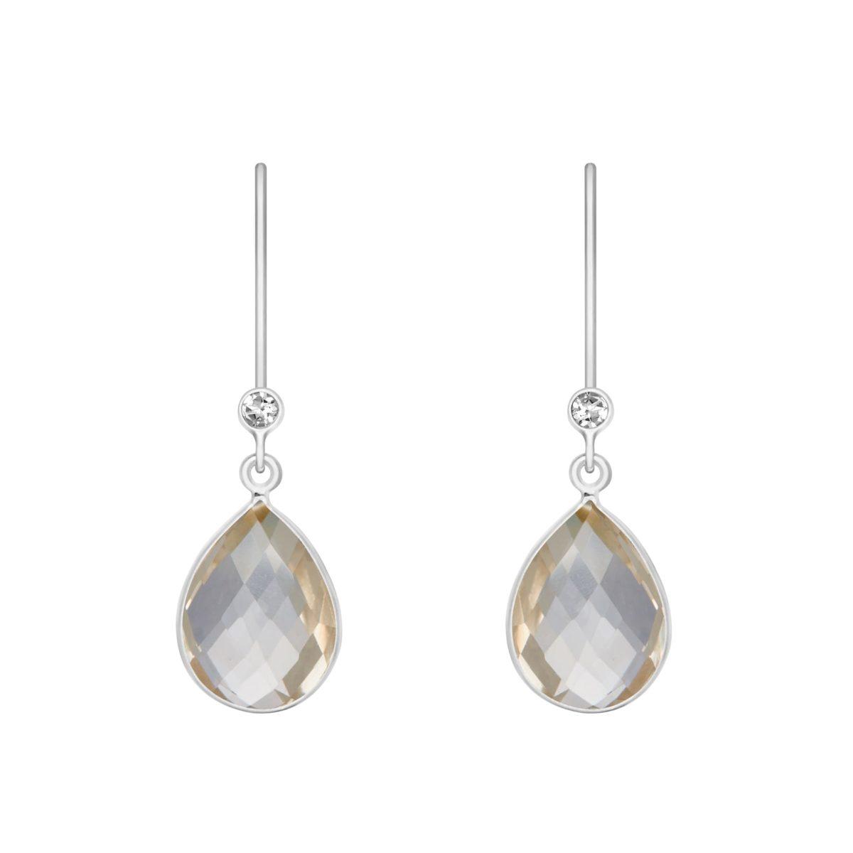 Shakara Jewellery, Droplet-collection-Clear-rock-crystal dangle earring.
