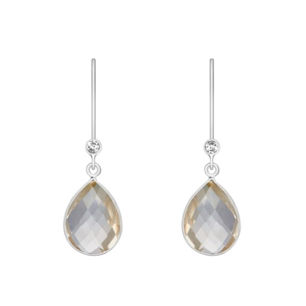 Shakara Jewellery, Droplet-collection-Clear-rock-crystal dangle earring.