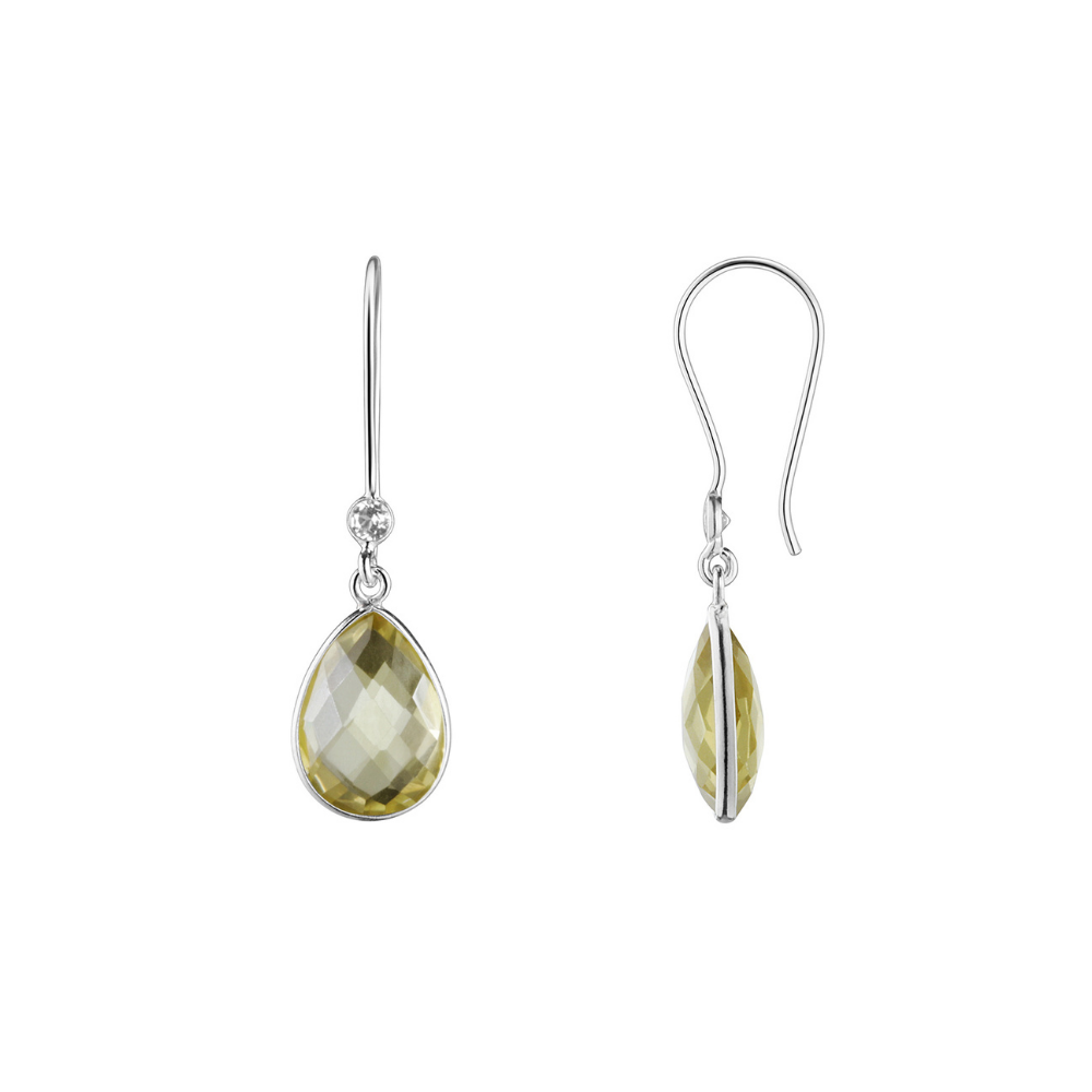 Shakara Jewellery, Droplet collection - duo drop Lemon Quartz dangle earring.