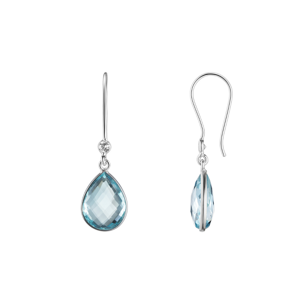 Shakara Jewellery, Droplet collection, Sky Blue Topaz duo drop earrings.