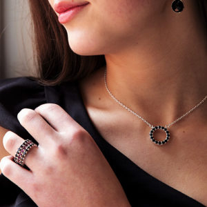 Black Spinel necklace and ring