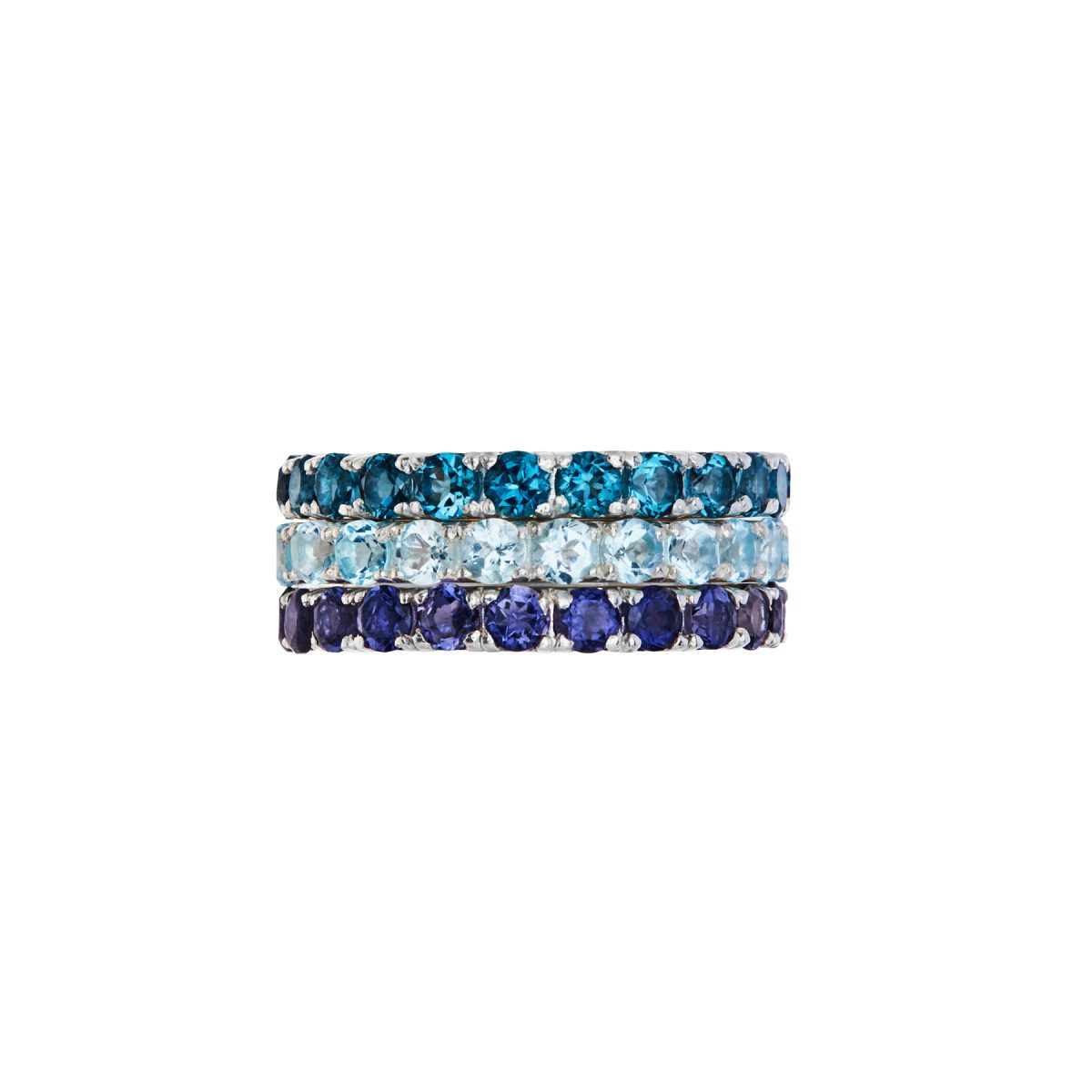 Iolite full eternity ring, London Blue Topaz full eternity ring, Sky Blue Topaz full eternity ring.