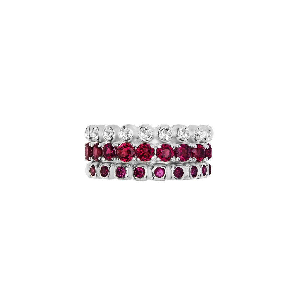 Rhodolite Garnet full eternity ring, bezel set Rhodolite Garnet half eternity ring, bezel set White Topaz half eternity ring.
