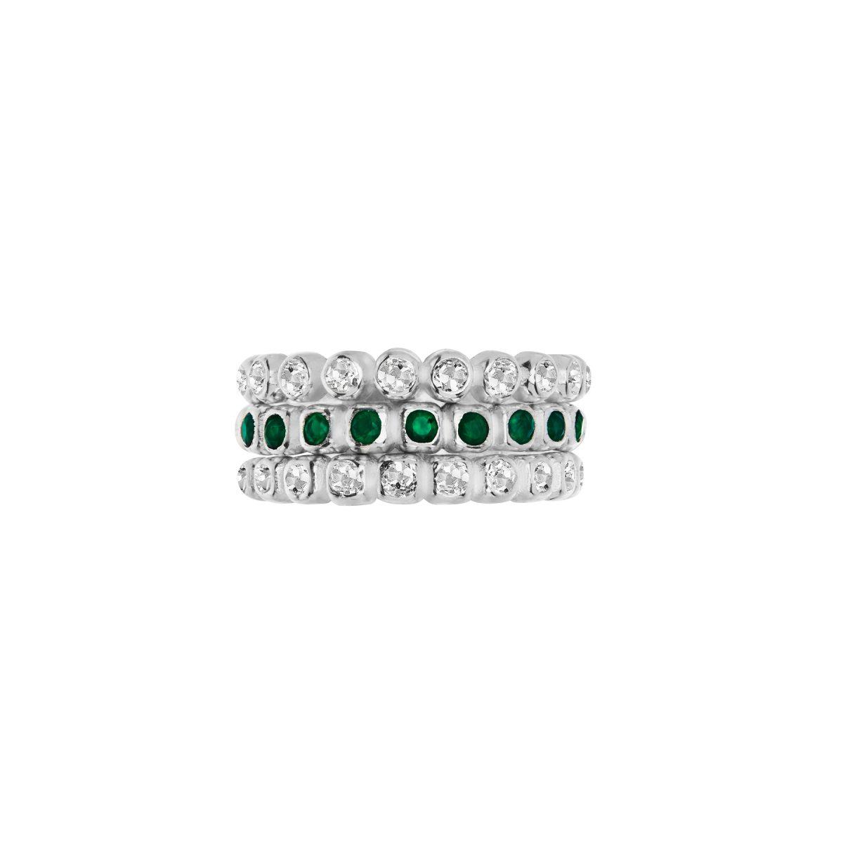 Bezel set round White Topaz half eternity ring, Green Onyx half eternity ring, stacking rings.