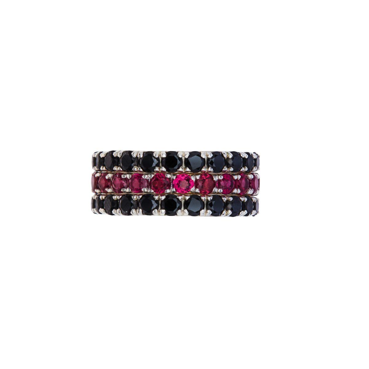 Black Spinel full eternity ring, Rhodolite Garnet full eternity ring.