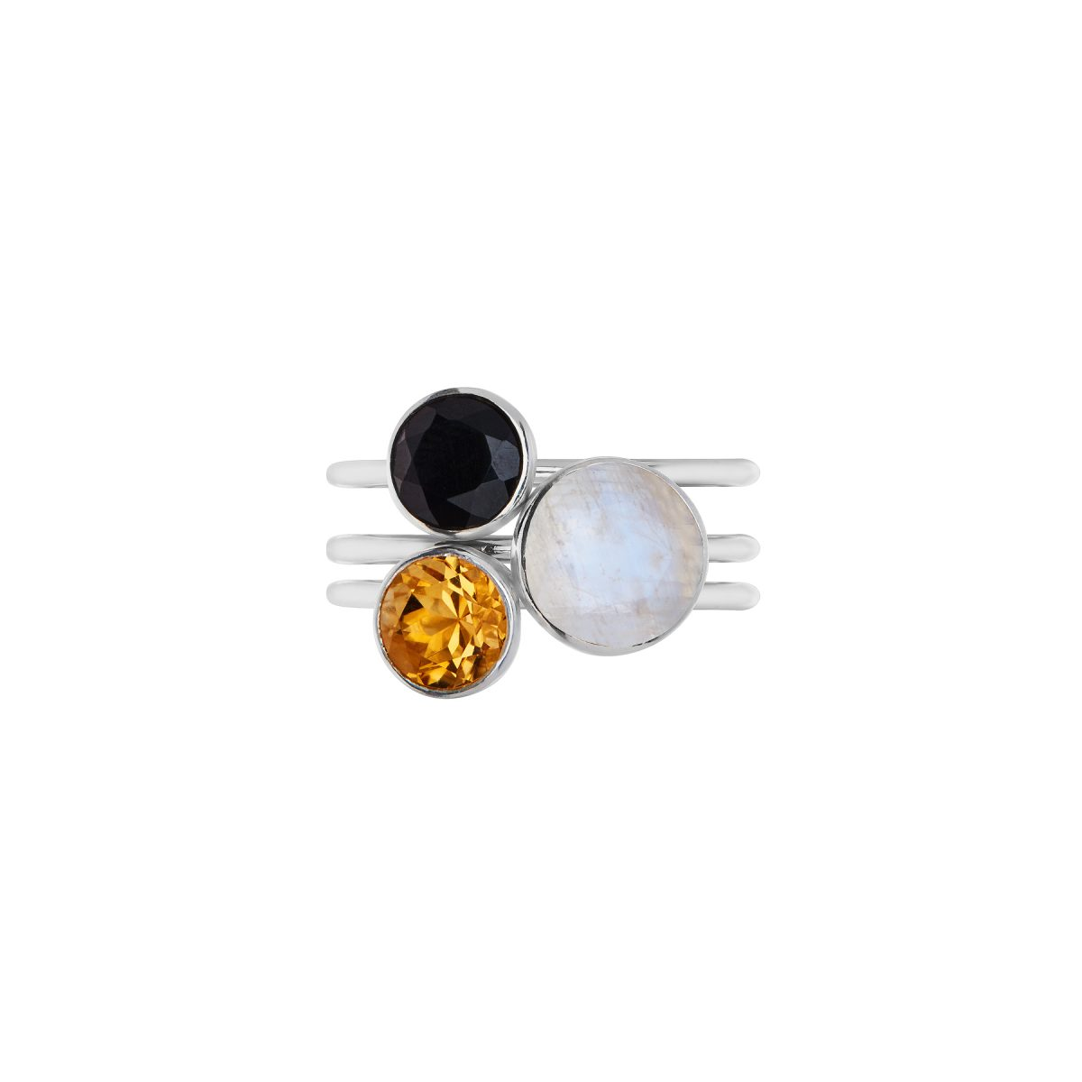 Rainbow Moonstone ring,Black Onyx 6mm round stacking ring.