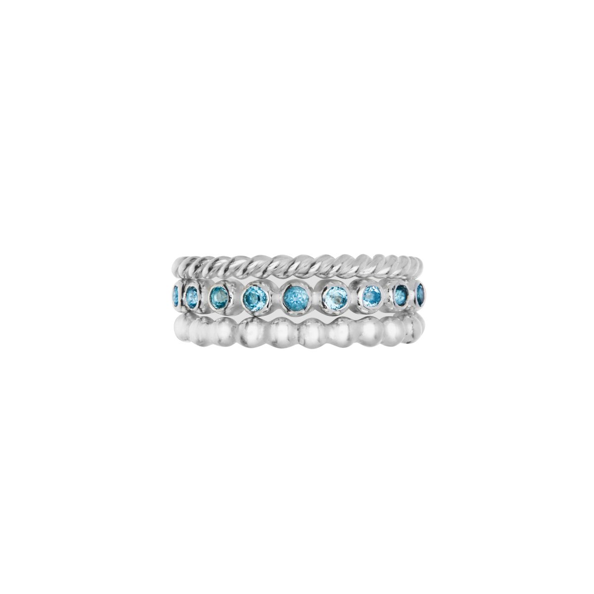 Silver ball ring, Sky Blue Topaz half eternity ring, silver twist ring.