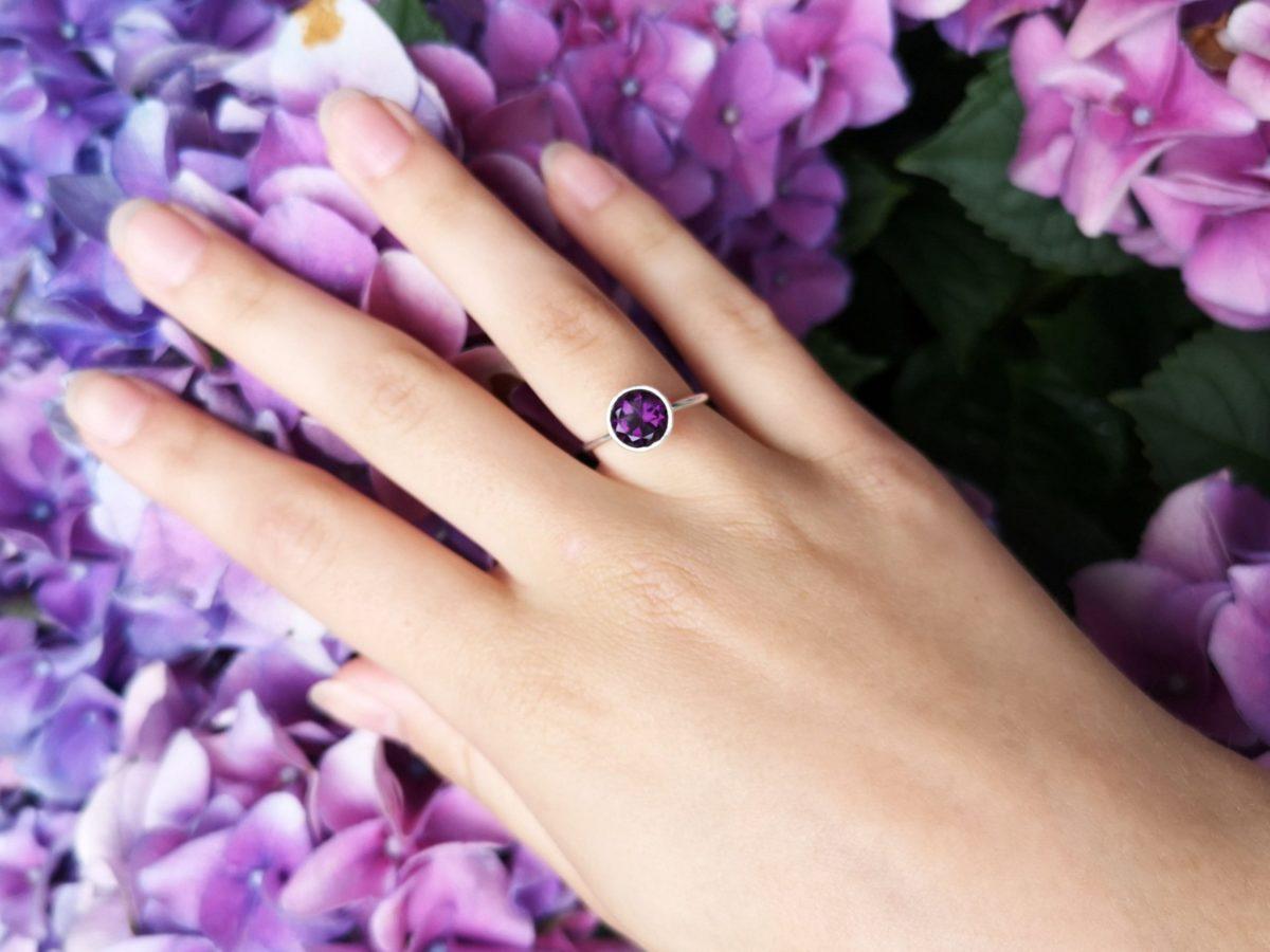 Purple Amethyst stacking ring.