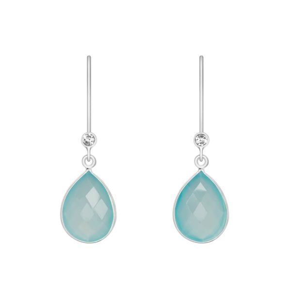 Shakara Jewellery droplet-collect-teal-chalcedony earring.