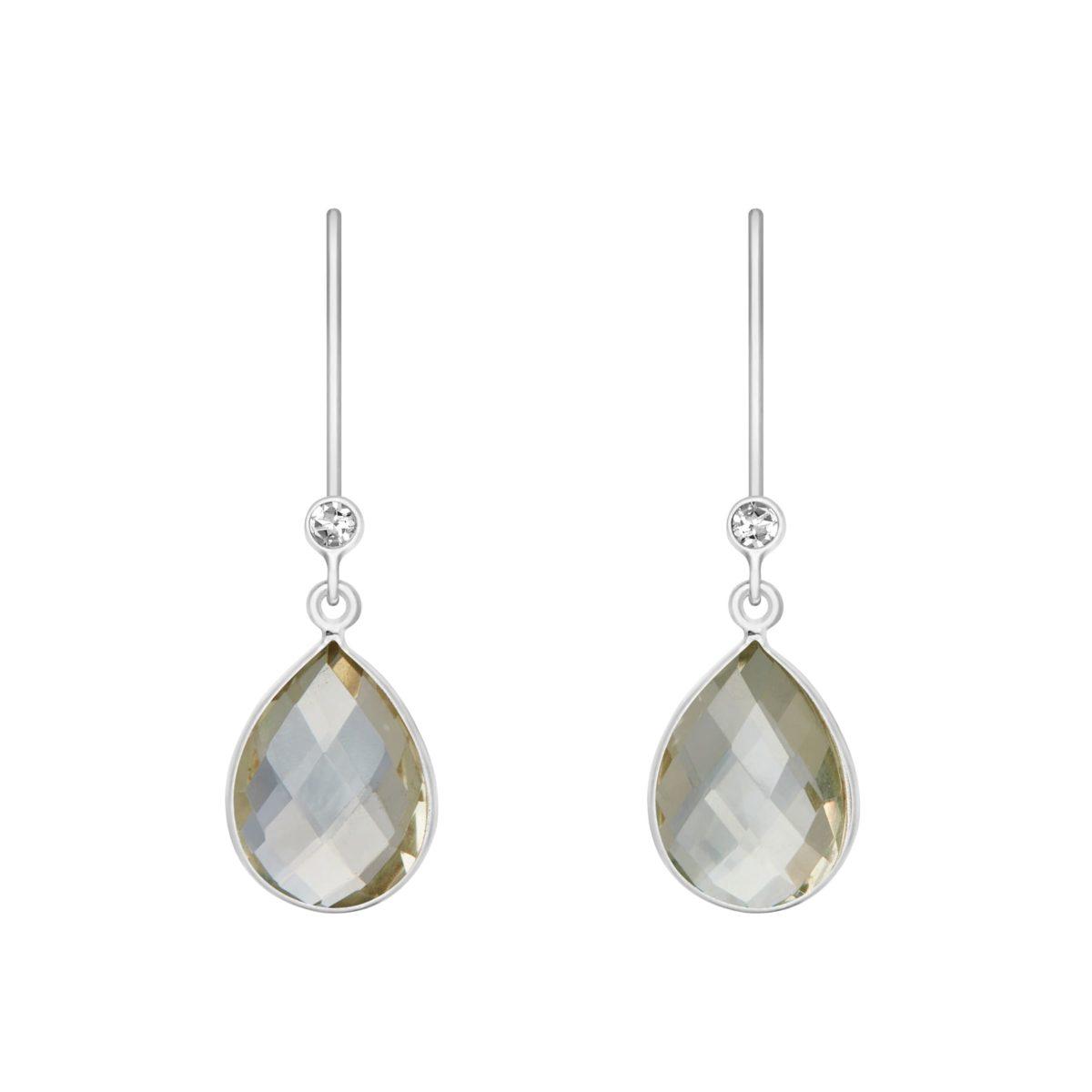 Shakara Jewellery, droplet-collectio-green-amethyst dangle earring.