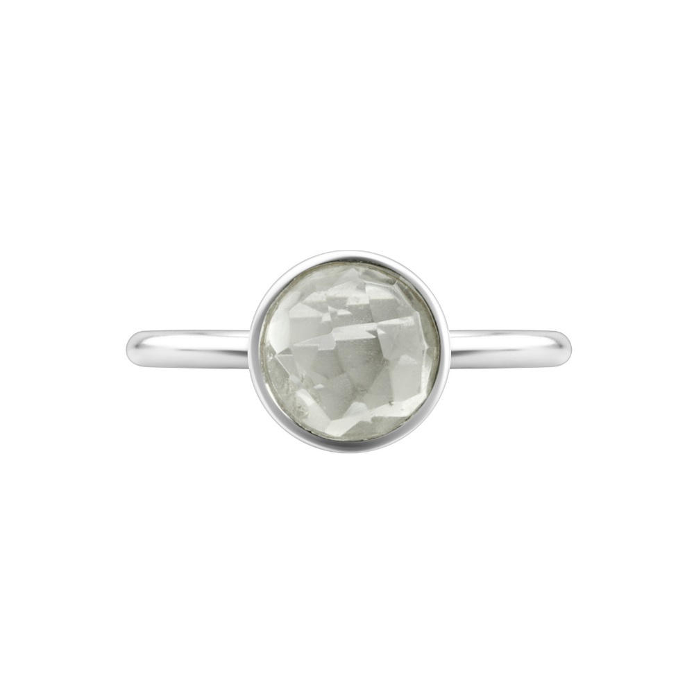 Shakara Jewellery, Bon Bon Round 8mm - Green Amethyst stacking ring.