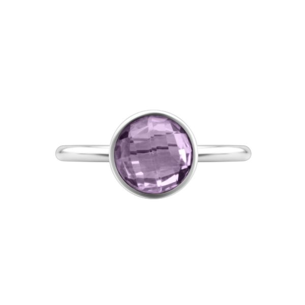 Shakara Jewellery, Bon Bon collection Round 8mm Pink Amethyst stacking ring.