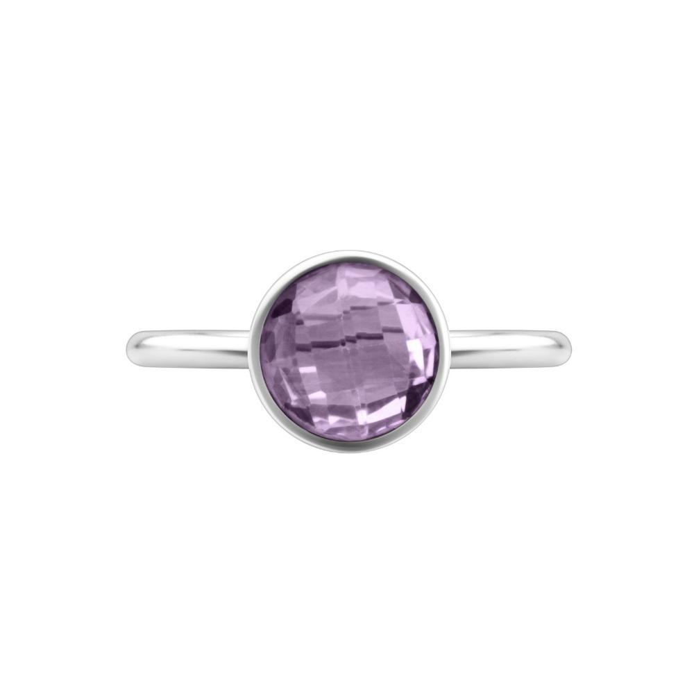 Shakara Jewellery, Bon Bon collection Round 8mm Pink Amethyst stacking ring.