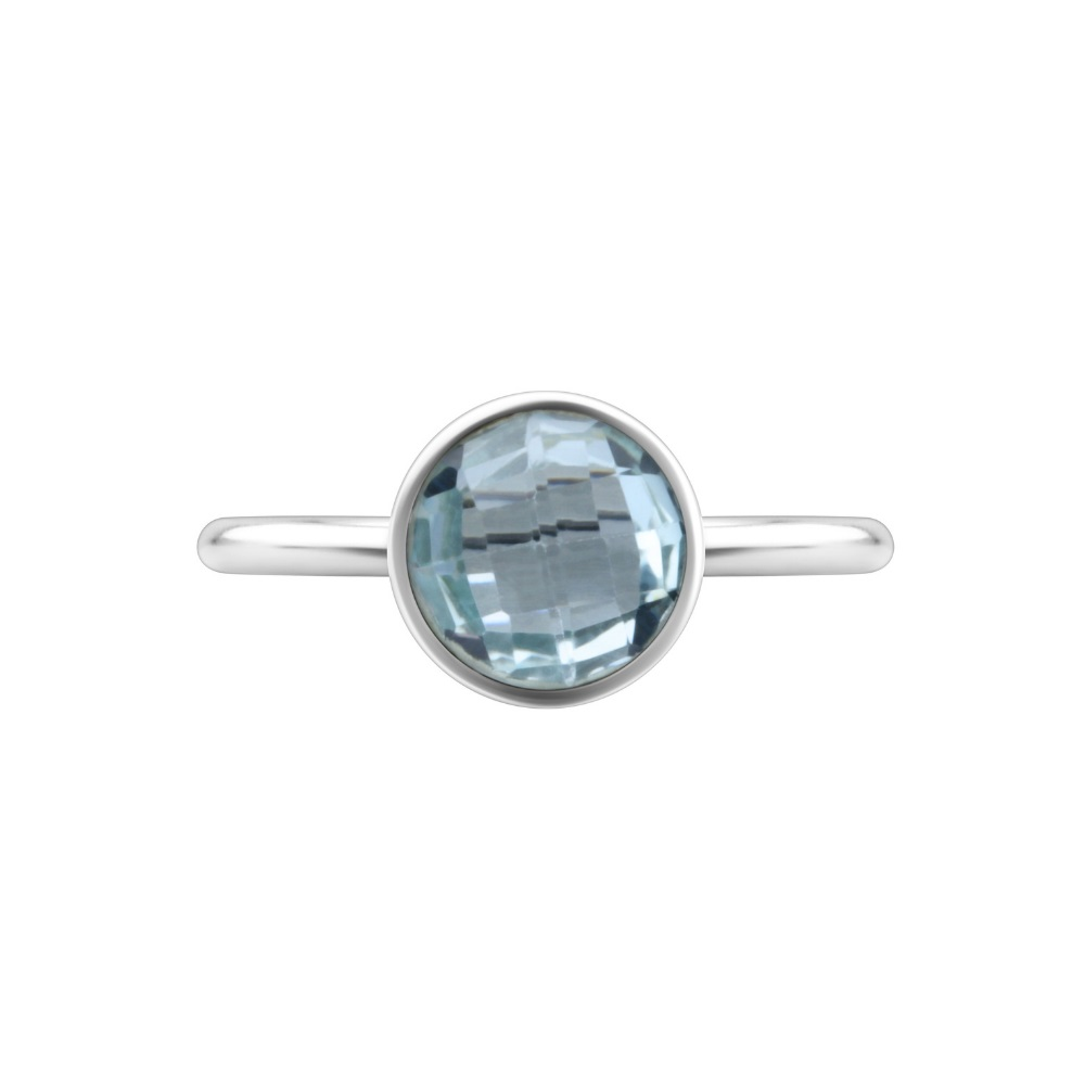 Shakara Jewellery, Bon Bon Round 8mm - Sky Blue Topaz stacking ring.