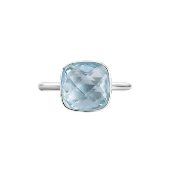 Shakara Jewellery Bon Bon collection cushion cut 10 mm - Sky Blue topaz ring.