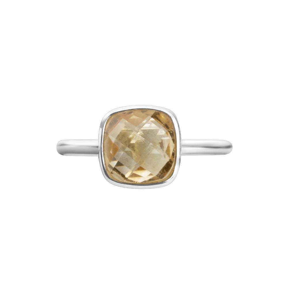 Shakara Jewellery Bon Bon collection cushion cut 8 mm - Citrine stacking ring.
