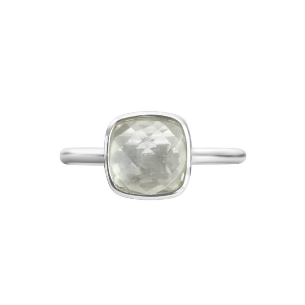 Shakara Jewellery, Bon Bon collection cushion cut 8 mm - Green Amethyst stacking ring.