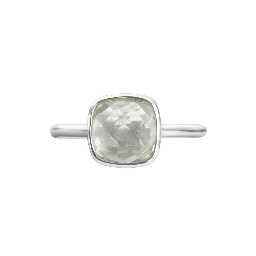 Shakara Jewellery, Bon Bon collection cushion cut 8 mm - Green Amethyst stacking ring.