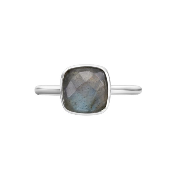Shakara Jewellery, Bon Bon collection cushion cut 8 mm - Labradorite stacking ring.
