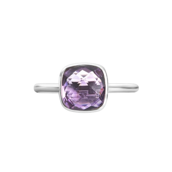 Shakara Jewellery Bon Bon collection cushion cut 8 mm - Pink Amethyst stacking ring.