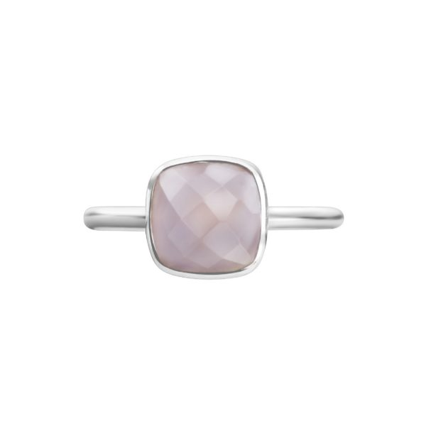 Shakara Jewellery, Bon Bon cushion 8 mm - Pink Chalcedony stacking ring.