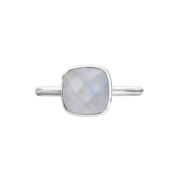 Shakara Jewellery, Bon Bon collection cushion cur 8 mm - Rainbow Moonstone stacking ring.