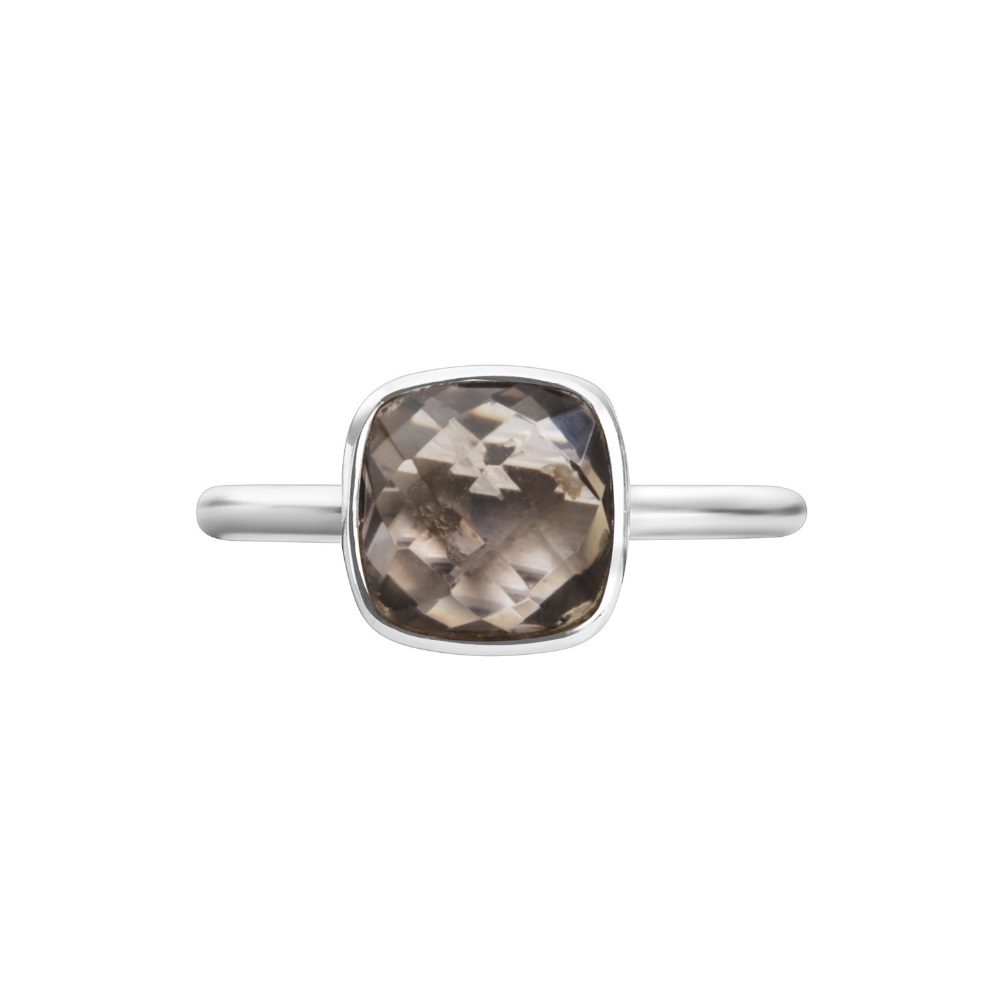 Shakara Jewellery, Bon Bon collection cushion cut 8 mm - Smokey Quartz stacking ring.