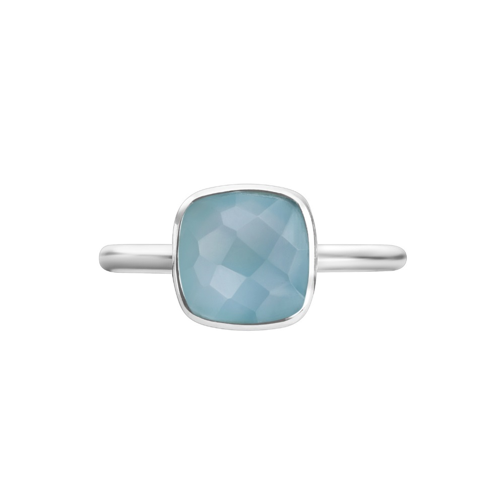 Shakara Jewellery, Bon Bon collection cushion cut 8 mm - Teal Chalcedony.
