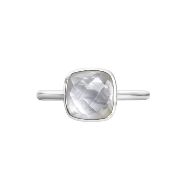 Shakara Jewellery, Bon Bon collection, cushion cut 8 mm - White Topaz stacking ring.