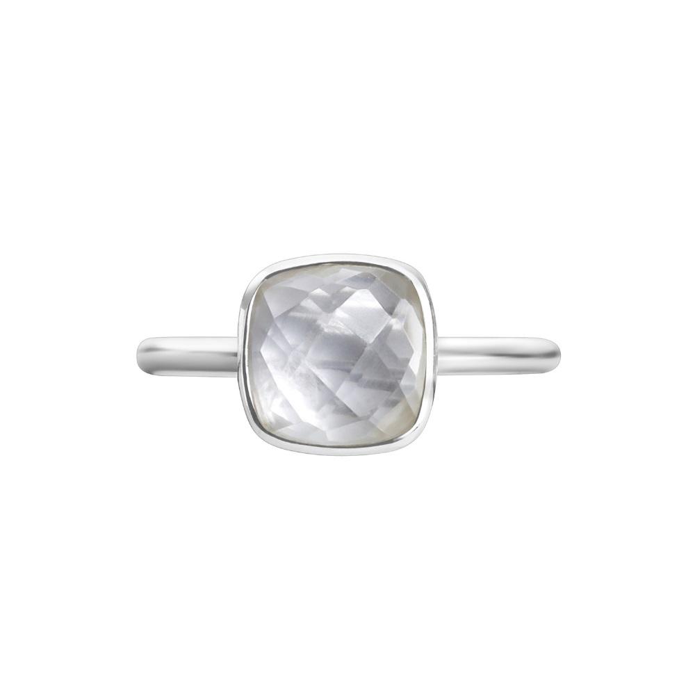 Shakara Jewellery, Bon Bon collection, cushion cut 8 mm - White Topaz stacking ring.