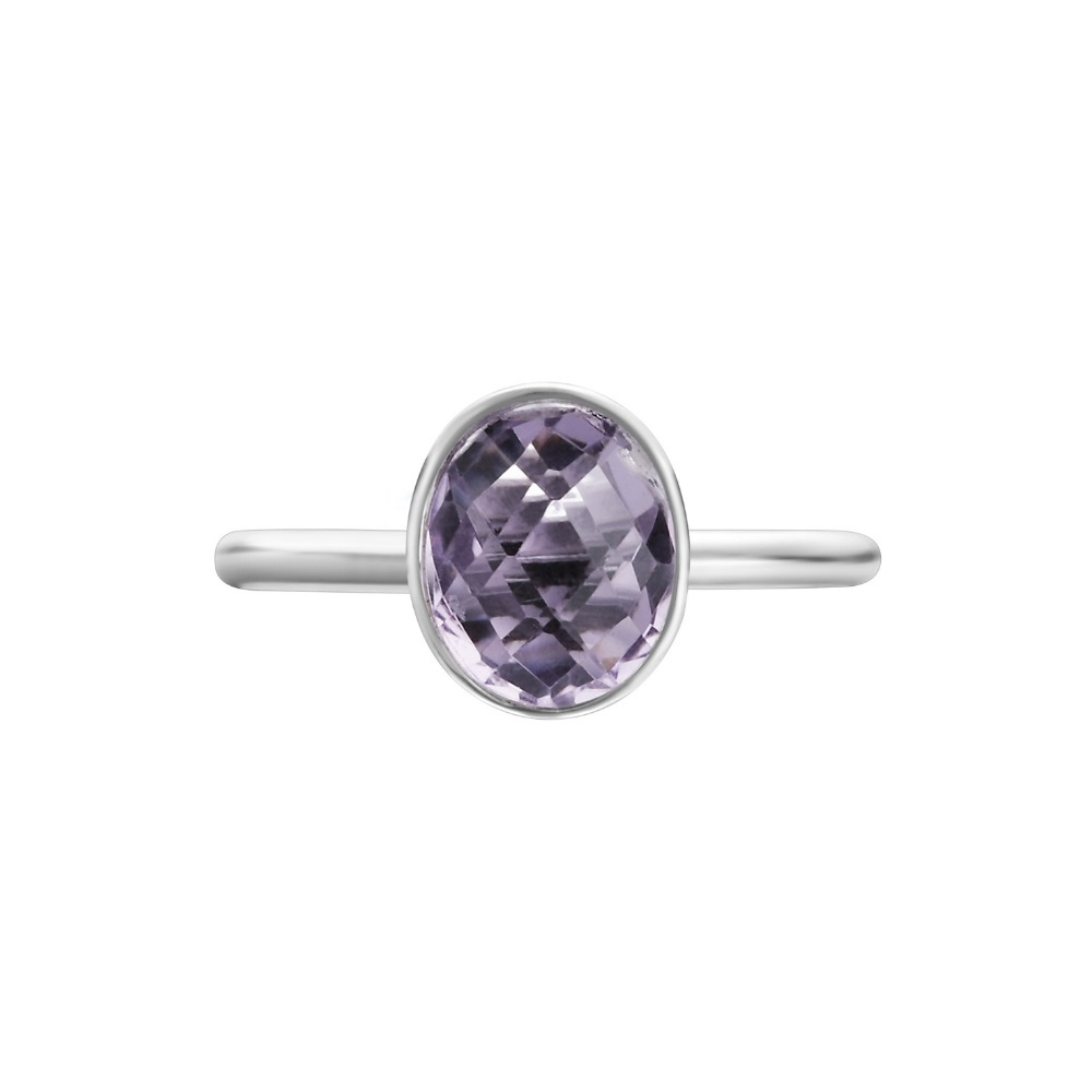 Shakara Jewellery Bonbon collection - oval Pink Amethyst ring.