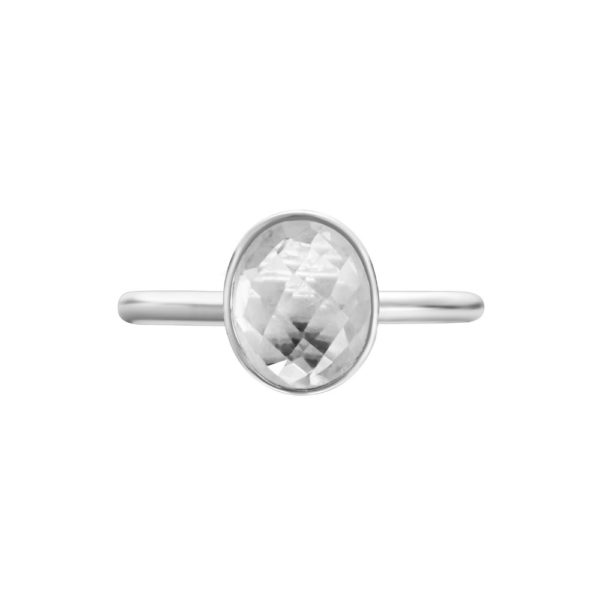 Shakara Jewellery, Bonbon collection - oval White Topaz ring