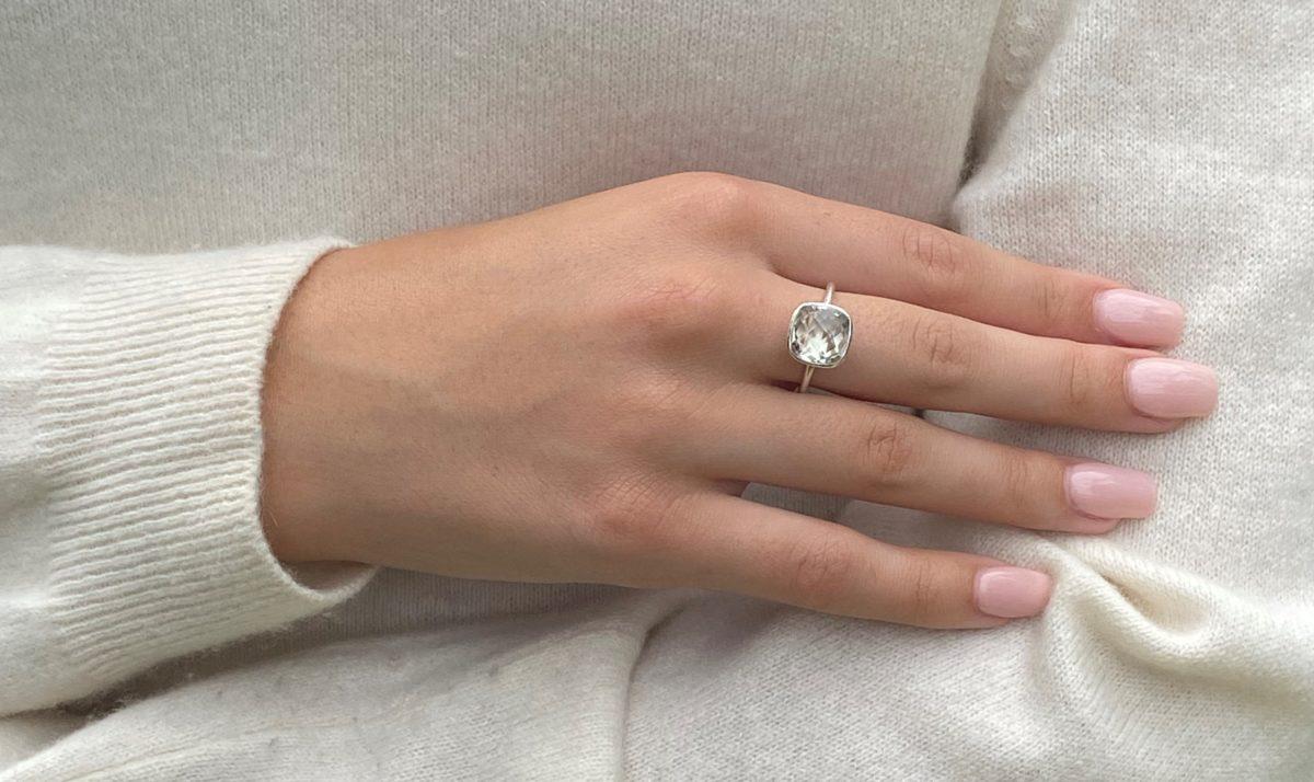 Shakara Jewellery Green Amethyst cushion cut gemstone ring