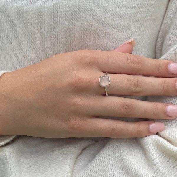 Shakara Jewellery Bonbon cushion cut Pink Chalcedony stacking ring.