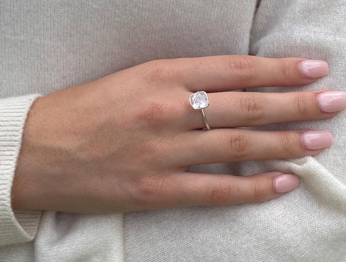 Shakara Jewellery, Bonbon cushion cut White Topaz stacking ring.