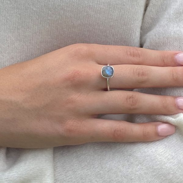 Shakara Jewellery, Bonbon cushion cut Labradorite stacking ring.