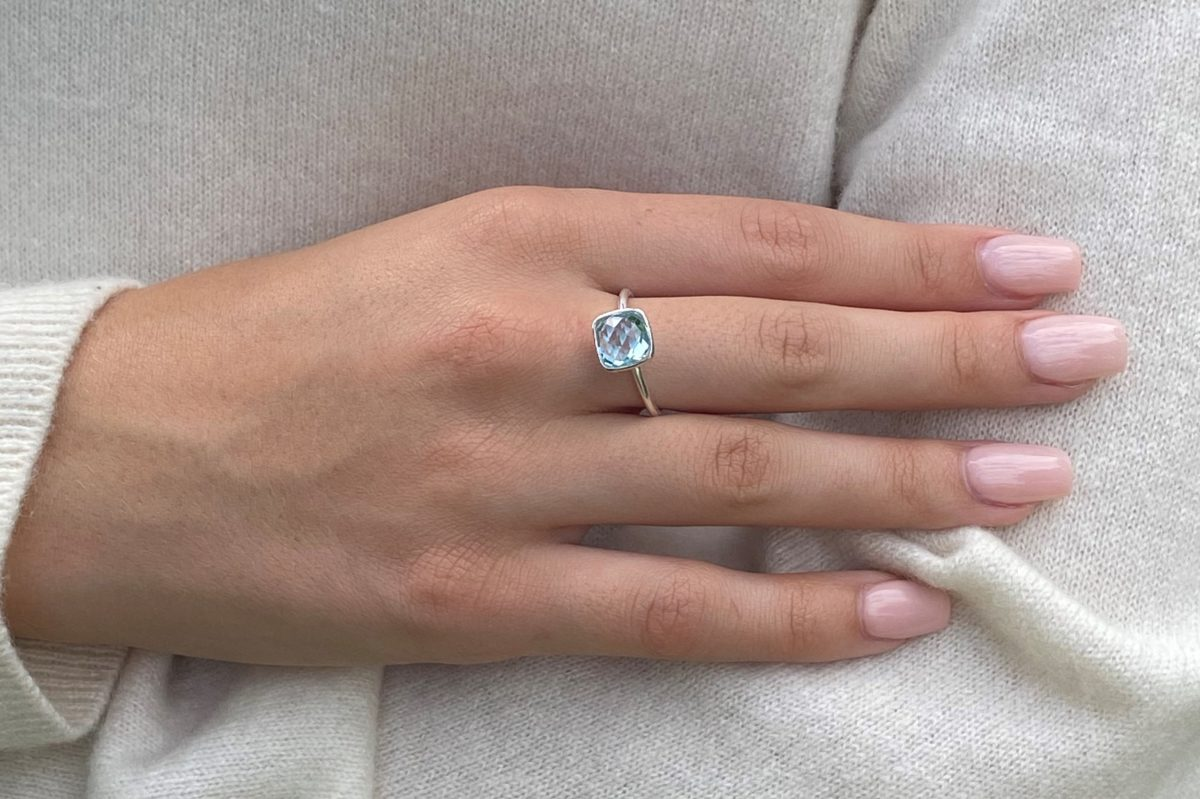 Shakara Jewellery Bonbon stacking ring. Sky Blue Topaz cushion cut gemstone set in sterling silver.