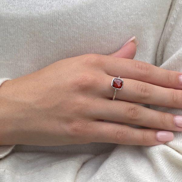 Shakara Jewellery, Bonbon Garnet cushion cut stacking ring