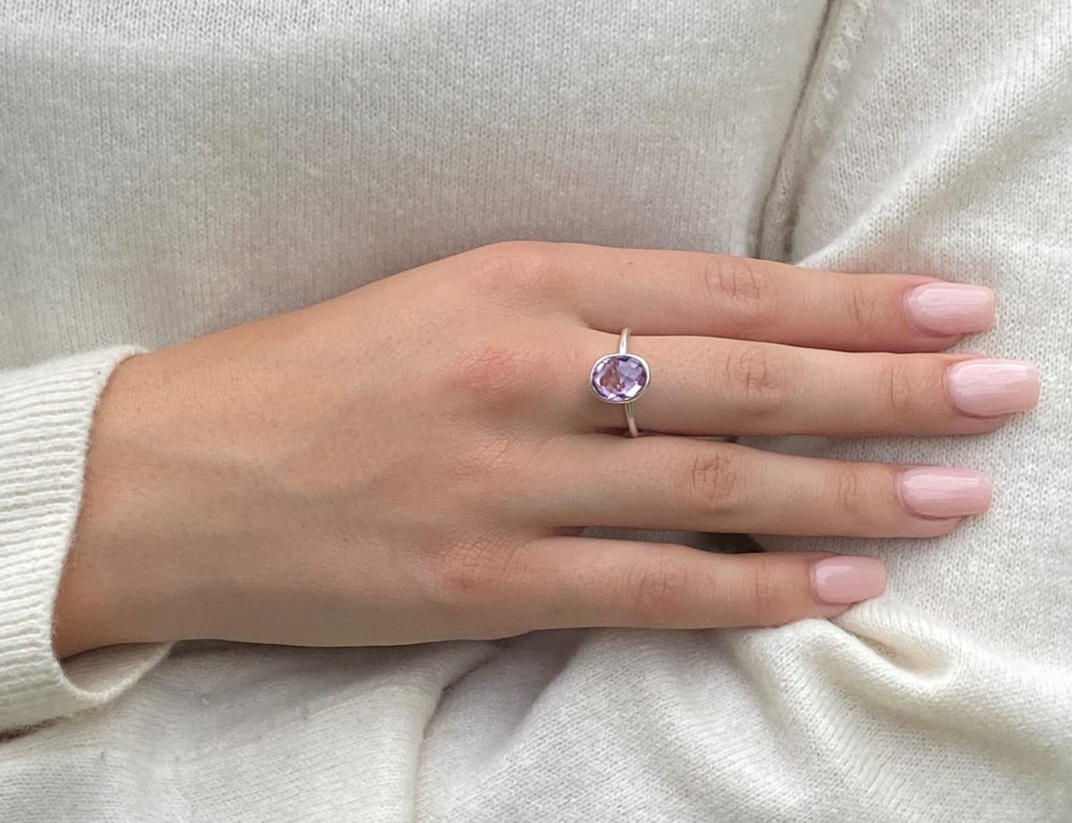 Oval Pink Amethyst stacking ring