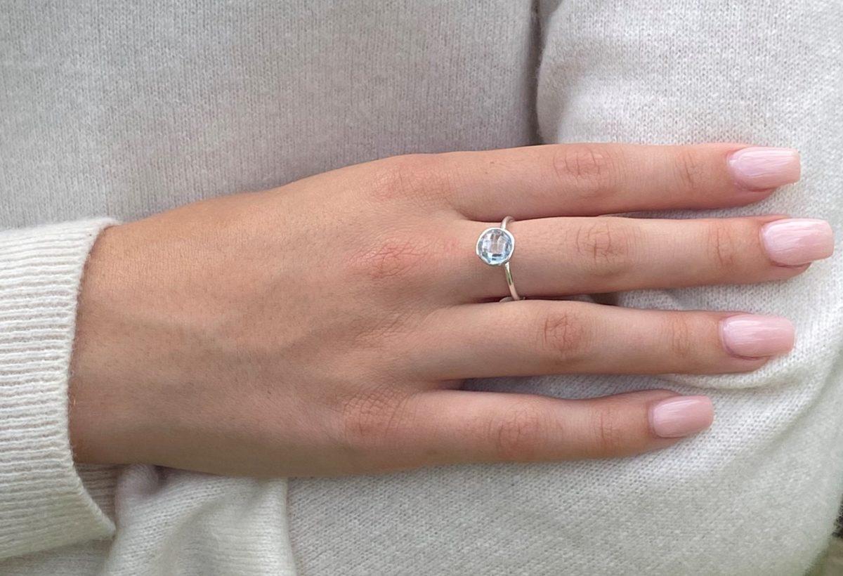 Shakara Jewellery, Bonbon round cabochon Sky Blue Topaz ring.