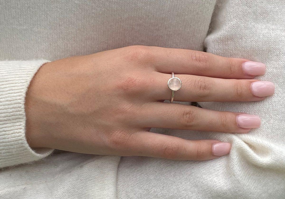 Shakara Jewellery, Bonbon round cabochon cut Pink Chalcedony ring