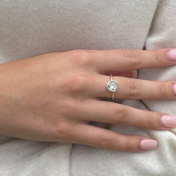 Shakara Jewellery, Bonbon round cabochon cut Green Amethyst ring.