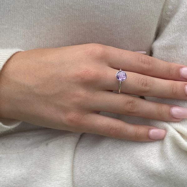 Shakara Jewellery, Bonbon round cabochon Pink Amethyst ring.
