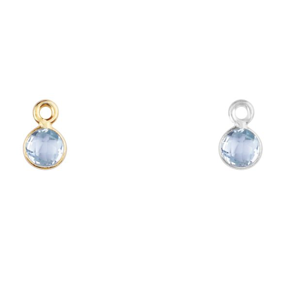 Blue Topaz charm in gold - December birthstone
