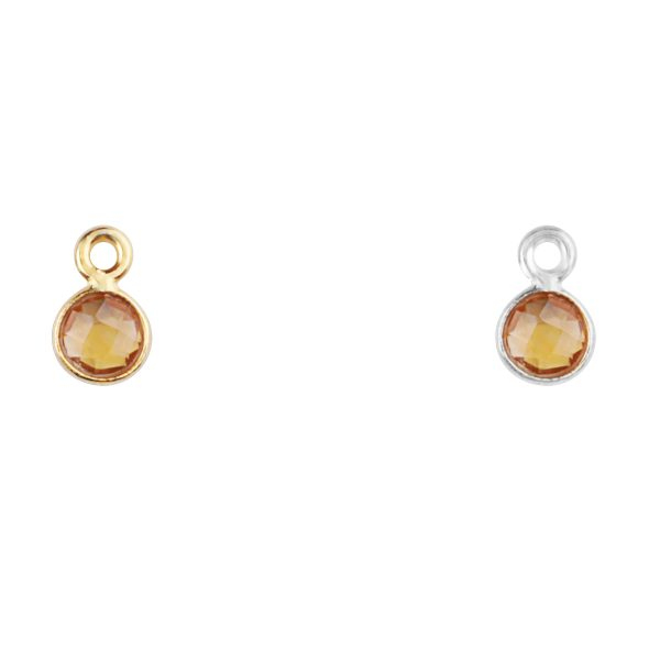 Citrine charm in gold- November birthstone