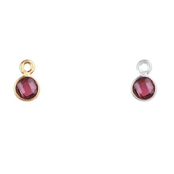 Garnet charm in silver - January birthstone