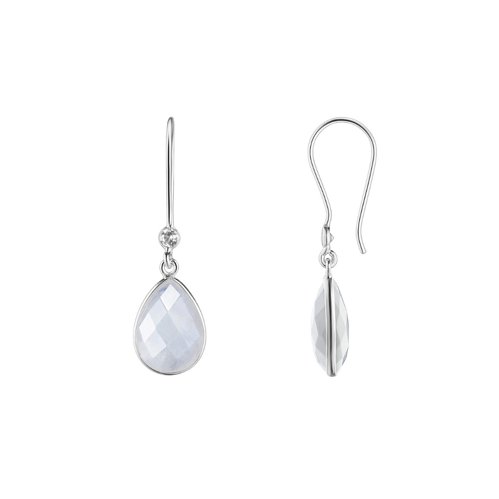 Shakara Jewellery, Droplet collection. Rainbow Moonstone drop earring.