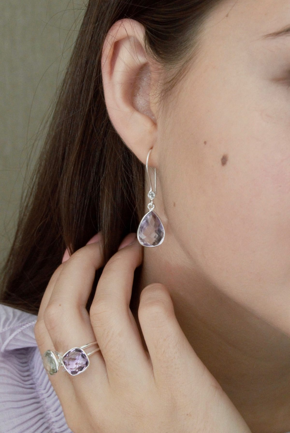 Pink Amethyst drop earring