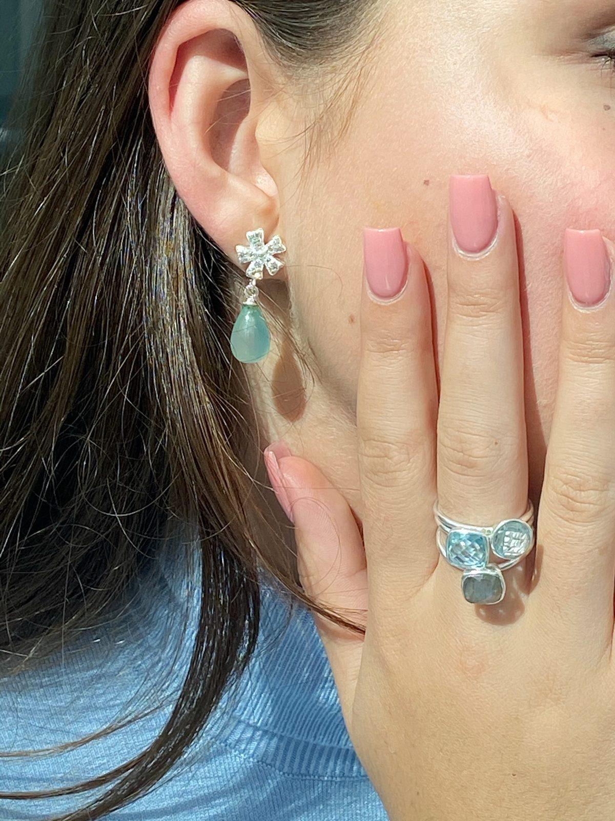 Teal Chalcedony drop earrings